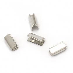 Ακροδέκτες-σφιχτηράκια μεταλλικά 11x6 mm ασημί -50 τεμάχια