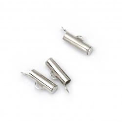 Накрайник метал тръбичка 13x4 мм дупка 3x1 мм цвят сребро -20 броя