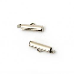 Накрайник метал тръбичка 16x4 мм дупка 2.5x1 мм цвят сребро -20 броя