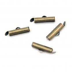 Накрайник метал тръбичка 16x4 мм дупка 2.5x1 мм цвят антик бронз -20 броя