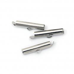 Ακροδέκτης- σωλήνας μεταλλικός 20x4 mm τρύπα 2,5x1 mm ασημί -20 τεμάχια