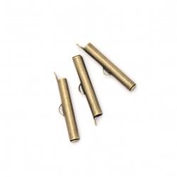 Накрайник метал тръбичка 26x4 мм дупка 2.5x1 мм цвят антик бронз -20 броя