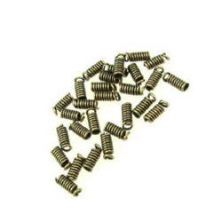 Накрайник метал пружинка 3x8 мм дупка 3 мм цвят мед-50 броя