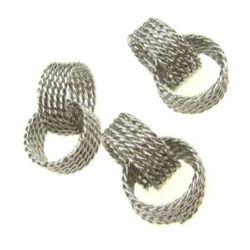 Метален елемент халки 16x7x2 мм релеф цвят сребро -5 броя