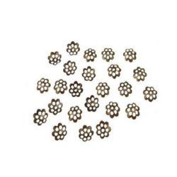 Καπελάκια χάντρας 6x1 mm μεταλλικά, αντικέ μπρονζέ -100 τεμάχια