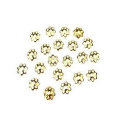 Καπελάκια χάντρας 6x1 mm μεταλλικά, χρυσό -100 τεμάχια
