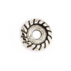Мънисто метал шайба 10x3 мм дупка 2 мм цвят старо сребро -10 броя