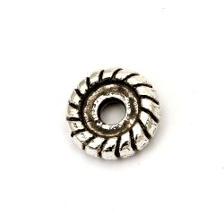 Margele metalica saibă 12x3,5 mm gaură 3 mm culoare argintiu vechi -10 bucăți