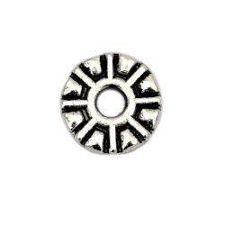 Мънисто метал шайба 9x1 мм дупка 2 мм цвят старо сребро -20 броя