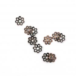 Καπελάκια χάντρας 7,5x1,5 mm μεταλλικά, αντικέ χάλκινο -100 τεμάχια