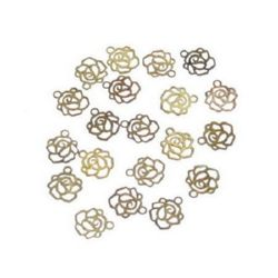 Висулка метална роза плоска 6x7 мм дупка 0.3 мм цвят старо злато - 40 броя