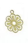 Висулка метална цвете плоско 10x8 мм дупка 0.3 мм цвят старо злато - 30 броя
