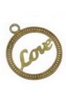 Cerc metalic pandantiv cu inscripție LOVE plat 11.5x10 mm gaură 0.3 mm culoare aur vechi - 30 bucăți