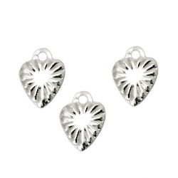 Висулка метална сърце 8x6x0.5 мм дупка 1 мм цвят бял - 100 броя