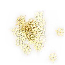 Елемент метал стомана детелина 5x4x0.5 мм дупка 2 мм цвят злато -100 броя