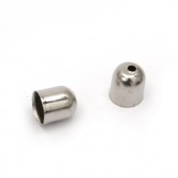 Накрайник метал шапка 7x8 мм цвят сребро -50 броя