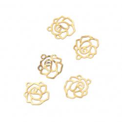 Висулка метал стомана роза плоска 10x8 мм дупка 1 мм цвят старо злато -2 грама ~49 броя