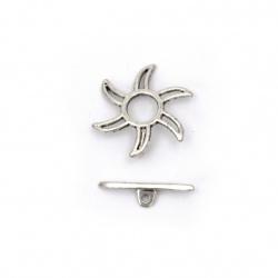 Закопчалка метална две части цвете 22x22x2 мм, 20x1.5 мм дупка 1.2 мм -5 комплекта