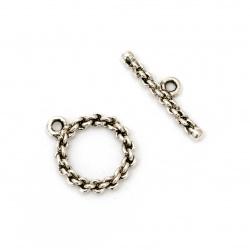 Закопчалка метална две части кръг 21.5x18x3 мм , 26x7x3 мм дупка 2 мм цвят старо сребро -2 комплекта