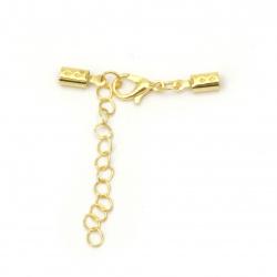 Комплект закопчалка метална с накрайници 11x4 мм обли и синджирче 50x4 мм цвят злато