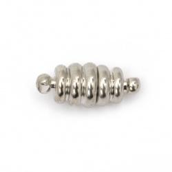 Закопчалка магнитна 18x8 мм дупка 1.5 мм цвят сребро -1 брой