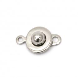 Закопчалка стомана две части 15.5x10x5 мм дупка 1.5 мм цвят сребро -1 комплект