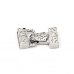 Закопчалка стомана с накрайници две части 28x14x7.5 мм дупка 4x12 мм цвят сребро -1 комплект
