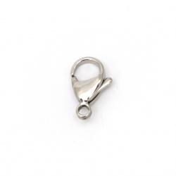 Закопчалка тип щъркел 9x15x4 мм СТОМАНА 304 цвят сребро 1-во качество -5 броя