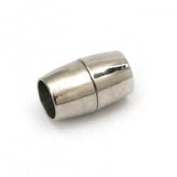 Закопчалка магнитна 20x8 мм дупка 7 мм цвят сребро
