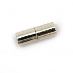 Закопчалка магнитна 20x7 мм дупка 6 мм цвят сребро