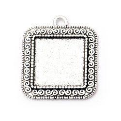 Основа за медальон метал 34x30x2 мм плочка 20x20 мм дупка 3 мм цвят старо сребро