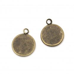 Основа за медальон метал 14x1.5 мм плочка 12 мм дупка 2 мм цвят антик бронз -10 броя