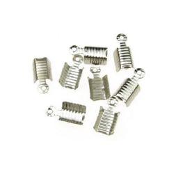 Ακροδέκτες-σφιχτηράκια μεταλλικά 12x4x4 mm τρύπα 15 mm ασήμι -50 τεμάχια
