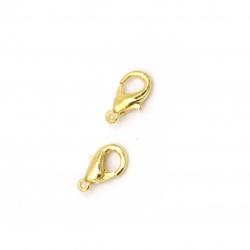 Κούμπωμα παπαγαλάκι 5x10 mm χρυσό χρώμα -50 κομμάτια