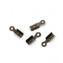 Iron Cord Ends, 3x8 mm color antique copper 50 pieces