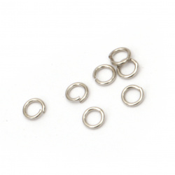 Jewelry Jump Rings, Close but Unsoldered, 4x0.7 mm color silver -200 pieces