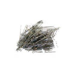 Свързващ елемент метал 35 мм с халка цвят сребро -10 грама ~73 броя