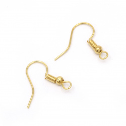 Metal earring tip 18x18 mm hole 2 mm gold color -50 pieces