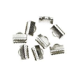 Iron Cord Ends, 10 mm pinch color silver -50 pieces
