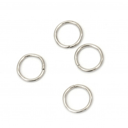 Metal ring for Jewelry8x0.9 mm color silver -200 pieces