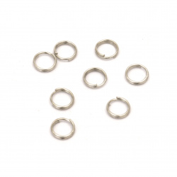Metal ring for Jewelry 6x0.6 mm two turns color silver -50 pieces