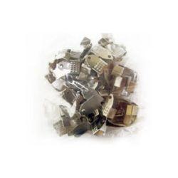 Ακροδέκτες-σφιχτηράκια μεταλλικά 6x11 mm ασημί -50 τεμάχια