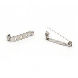 Clasp 25x5x6 mm with sheet metal 3 holes color silver -20 pieces