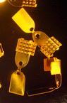 Duza metalic dublu 5x11 mm cu culoarea dinților auriu -50 bucăți