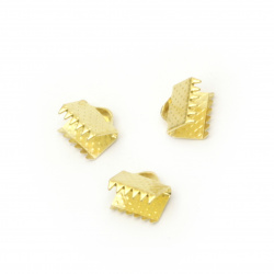 Ribbon Clamps Iron 8 mm pinch color gold -50 pieces