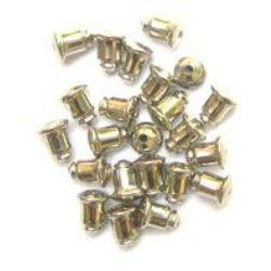 Накрайник за обеца метал женско цвят сребро 6.5 мм цвят сребро -50 броя