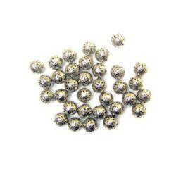 Мънисто метал топче 10 мм цвят сребро -50 броя