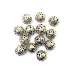 Margele metalica bilă 14 mm culoare argintiu ± 193 grame -20 bucăți