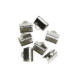 Накрайник метал 8 мм щипка цвят сребро -50 броя