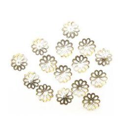 Palarie metalica de varf 15x2 mm culoare floare argintiu -50 bucati